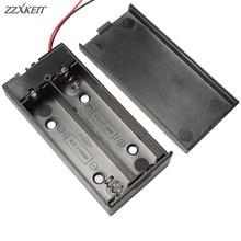 Caja de batería de plástico negro, 2 secciones, 18650, con interruptor, bricolaje, contenedor de soporte con Clip con cable de plomo, 1 ud.