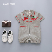 Bodysuit Baby Boy Overalls Girls Jumpsuit Cherry Embroidery Summer Unisex Striped Jumpsuit Baby Clothes Kids Infant