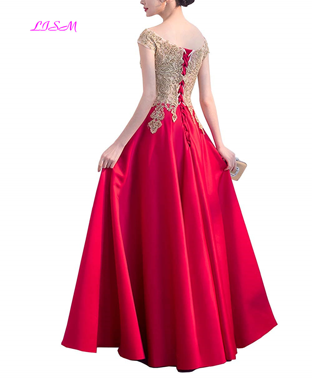Evening Dresses Long V Neck Appliques Satin Elegant Formal Party Gowns A-Line Beaded Lace up Back Prom Dress 2019 Robe De Soiree
