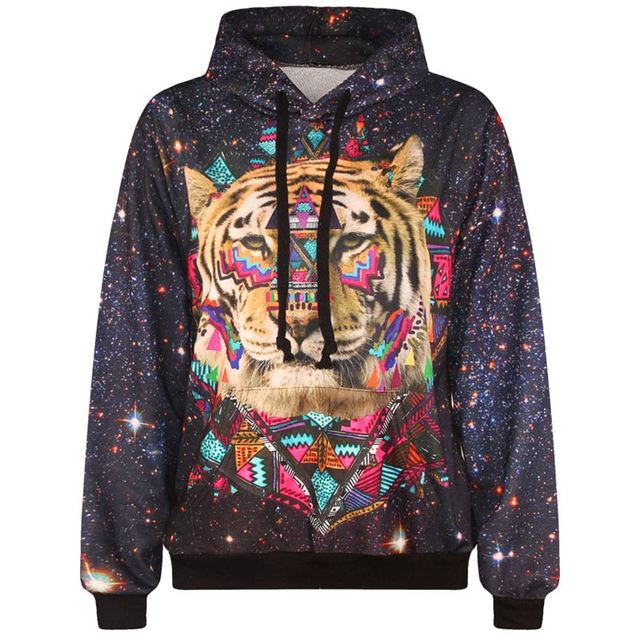 New fashion men/women hooded hoodies with cap lovely tracksuits print tiger head space galaxy 3d sweatshirts with pockets