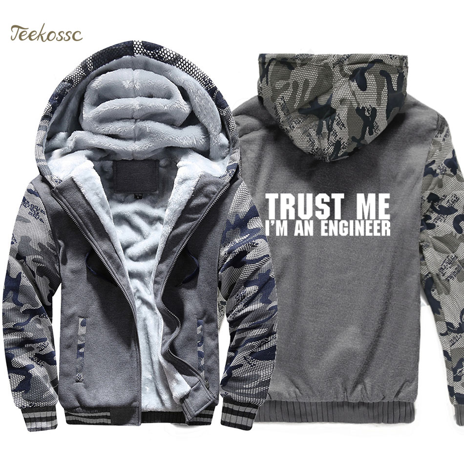 Trust Me Im An Engineer Hoodie Mens Funny Print Sweatshirt Coat 2018 Winter Warm Fleece Thick New Brand Streetwear Mens Jacket