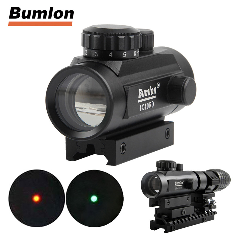 Holographic 1 x 40 Red Dot Sight Airsoft Red Green Dot Sight Scope Hunting Scope 11mm 20mm Rail Mount Collimator Sight HT5-0013 ldtr 0013 5mm red
