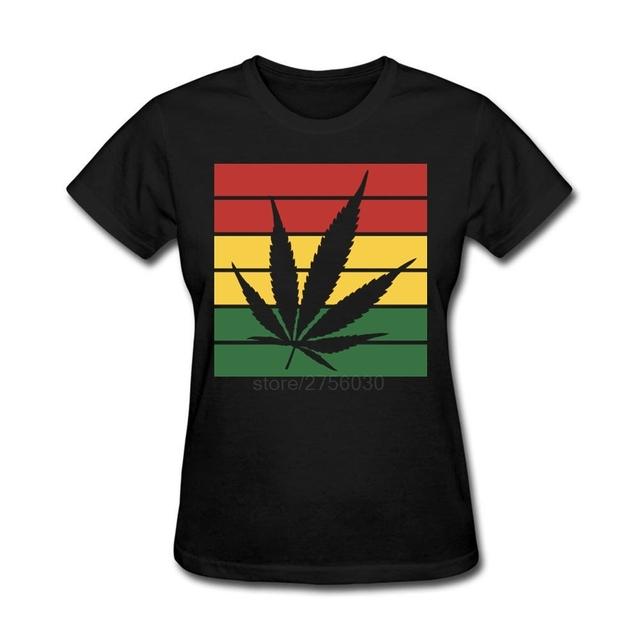 Personalizada bandera rasta weed leaf Cortos Camisetas Mujeres Camisetas Camisetas Pre-algodón Para Mujeres Al Por Mayor Camisetas Ofensivas
