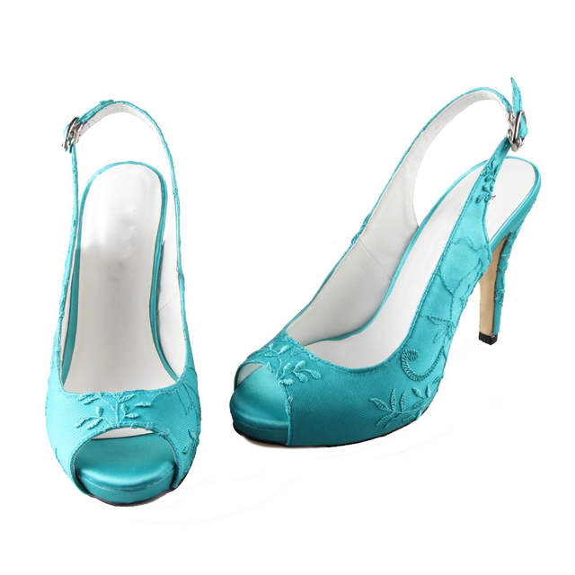 45b4762c40 US $74.1 5% OFF|Creativesugar Handmade turquoise slingback high heels lace  open peep toe ladies wedding evening party prom shoes pumps big size-in ...