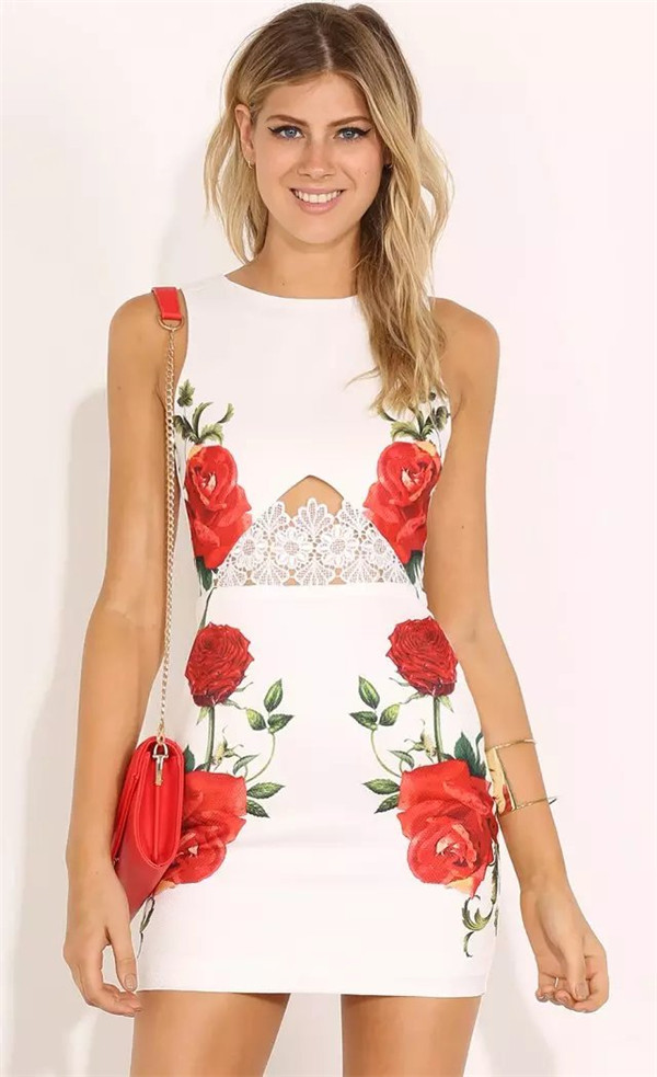 New Style for Ladies Sexy Floral Hollow Out Lace Patchwork Celebrity Bodycon Bandage Dresses Mujer font