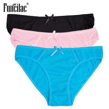 FUNCILAC Brand Underwear Women Pink Solid Cotton Briefs Sexy Lace Transparent Girls Panty Plus Size Lingerie Hot Sale M-XXL 3pcs sexy panti