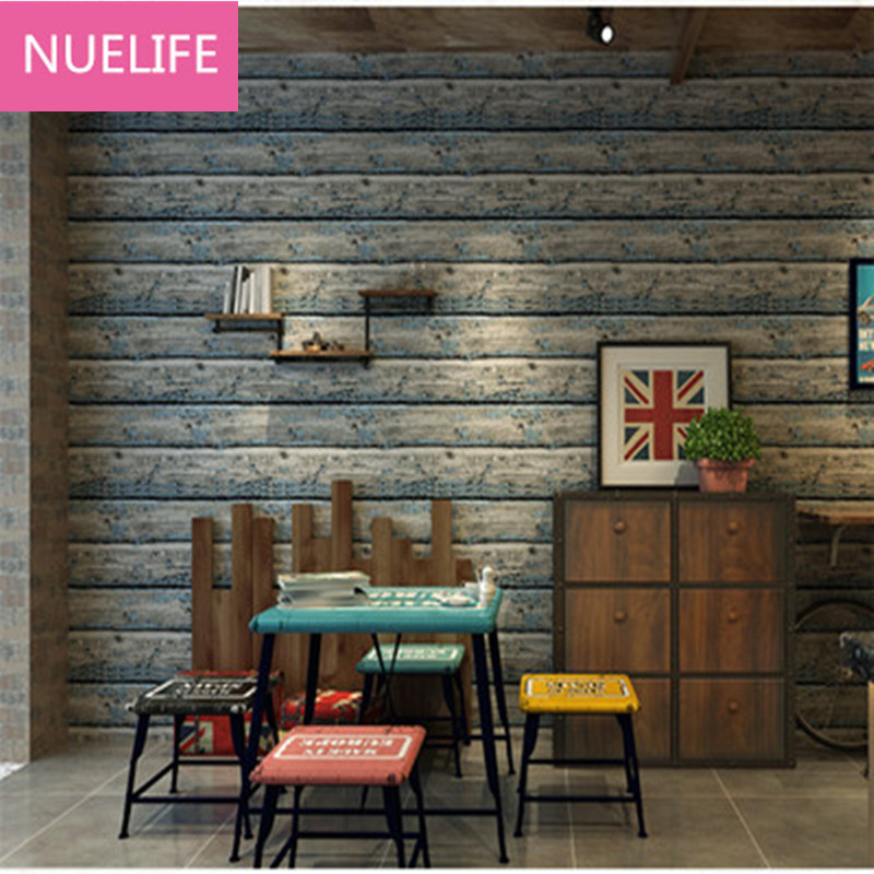 0.53x10m Colorful antique imitation wood personalized wood pattern wallpaper women clothing store living room bedroom wallpaper personalized clothing store track lamp