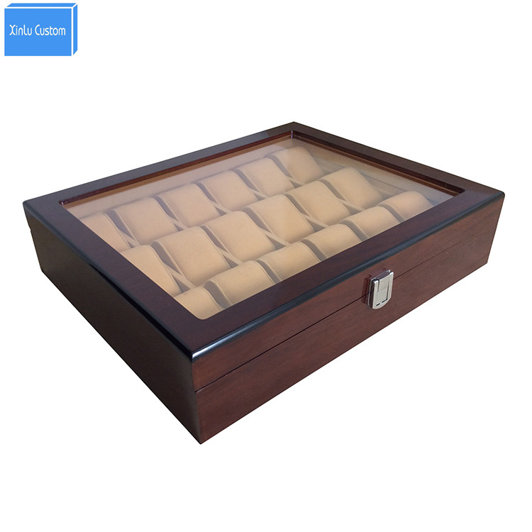 18 Slots Grid Wood&acrylic Window Jewelry Watches Display Storage Case Lock WBG1006 China Packaging Boxes Factory May Customzie brown black crocodile grain leather 10 slots box for luxury brand watches chest case window lock wholesale storage display case