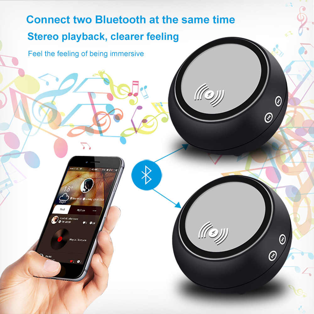 FDGAO Wireless Bluetooth Speaker Music Stereo Qi Wireless Charger Hifi MP3  Player For iPhone XS MAX XR X 8 Samsung Xiaomi Huawei