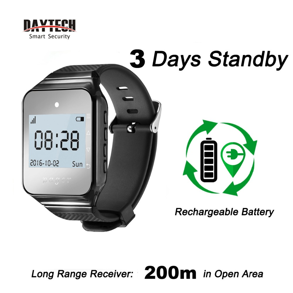 DAYTECH Wireless Wrist Watch Calling Pager System Caregiver Coaster Pager Waiter Queue System Wearable Receiver 433MHZDAYTECH Wireless Wrist Watch Calling Pager System Caregiver Coaster Pager Waiter Queue System Wearable Receiver 433MHZ