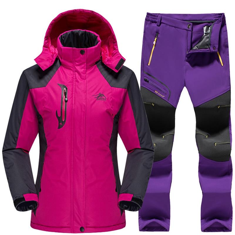 Waterproof Ski Suit For Women Ski Jacket Pants Female Winter Outdoor Skiing Snow Snowboard Fleece Jacket Pants Snowboard Sets