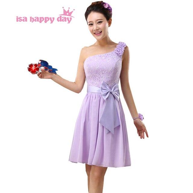 13a91373364 Une épaule chérie une ligne robes courtes violet clair courte longueur  élégante cocktail et fête robe