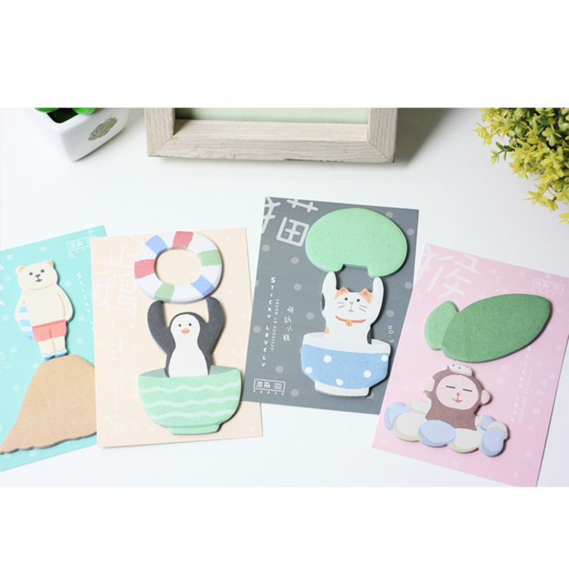 4 pcs/Lot Lovely animal sticky post Cat bear penguin memo pads sticker for diary planner scrapbook Office School supplies F550