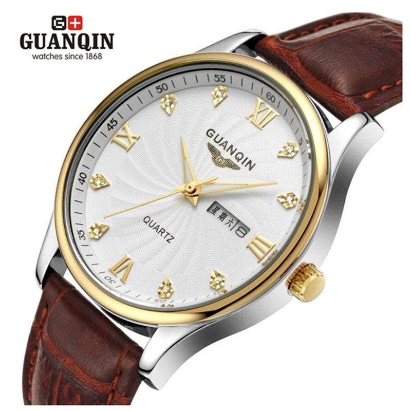 Original GUANQIN Men Quartz Watch Luxury Brand Watches Sapphire Leather Men Waterproof Watch Clock Relogio Masculino Reloj original guanqin men watches luminous luxury mens quartz watch sport leather male watches sapphire clock relogio masculino reloj