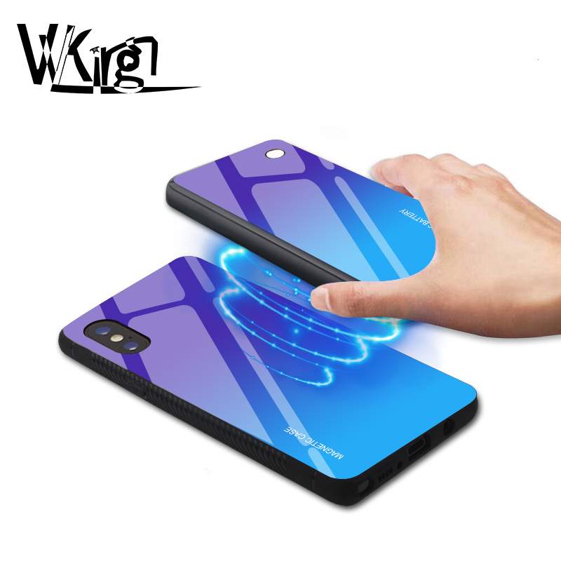 Magnetic Wireless Charging Phone Case For iphone X XS Max XR 5000mAh Battery Power Bank 8 plus Battery Charger Holder Glass Case