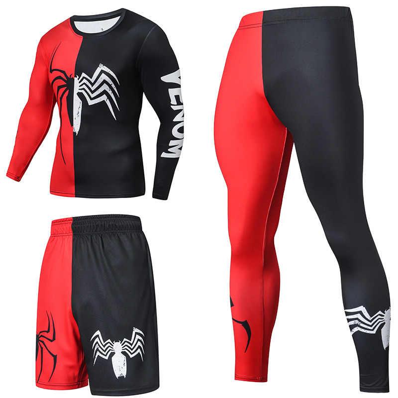 Supereroe di Compressione Tute Vestito di Sport degli uomini Quick Dry Corsa e Jogging I Vestiti degli insiemi di Sport di Jogging Palestra di Formazione Uomo di Forma Fisica Set