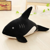 small size plush shark toy soft black shark pillow doll gift about 60cm