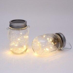 Image 3 - Solar powered Mason Jar Lights (Mason Jar & Handle Included),10 Bulbs Warn White Jar Hanging Light,Garden Outdoor Solar Lanterns