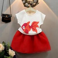 Bebek Kız Giyim Seti 2018 Yaz Yeni Kız Goldfish Kısa Kollu t Shirt + Tutu Etek 2 Adet Setleri Çocuk Takım Elbise Giyimi CLS156
