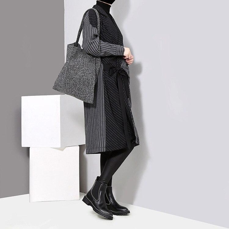 HTB11Lx3chPI8KJjSspfq6ACFXXaM - [EAM] 2019 New Spring  Winter Lapel Long Sleeve Solid Color Striped Split Joint Loose Big Size Dress Women Fashion Tide JD394