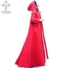 YOSIMI 2018 Spring Autumn Costume Maxi Elegant Linen Wild Long Women hoody Trench Hooded Lady Cloak Belt Red Coat Brand Clothing