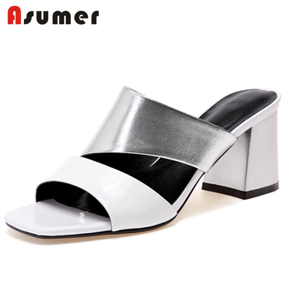 ASUMER 2018 fashion summer new shoes woman square heel casual mules shoes sandals women genuine leather high heels shoes msfair women square toe wedges sandals fashion butterfly crystal high heels woman sandals 2018 new summer women high heel shoes
