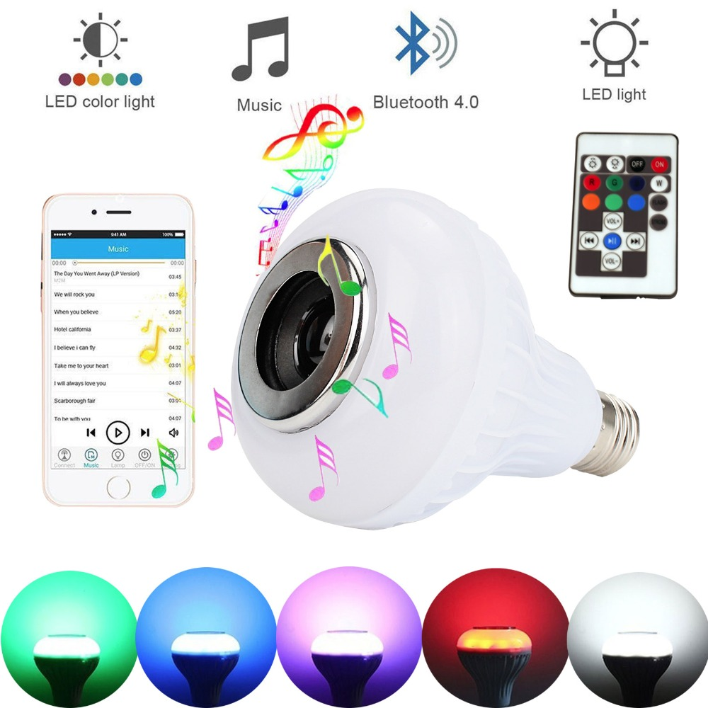 Dimmable E27 Smart RGB Wireless Bluetooth Speaker Bulb Music Playing LED Bulb Light Lamp 12W Flash with 18 Keys Remote Control szyoumy e27 rgbw led light bulb bluetooth speaker 4 0 smart lighting lamp for home decoration lampada led music playing
