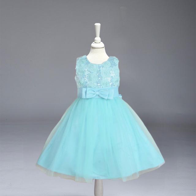 Varejo de moda de Nova verão da menina de flor, vestido de Crianças Princesa Crianças Vestido de Casamento com bow frete grátis L8051
