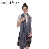 Lady Blinger Shining Pure Grey Color Scarf Smooth Soft Bright Scarf Cool Fringed Pashmina For Women