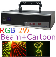 Sale! 2015 New Laser Light 2000mW RGB Laser Show DMX ILDA SD Card Slot 30K System 2W Full Color Beam Animation Strobe Projector