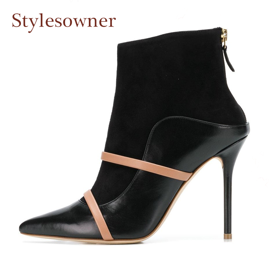 Stylesowner genuine leather ankle boots women pointed toe stiletto heel elastic short boots runway style mixed color narrow band стоимость