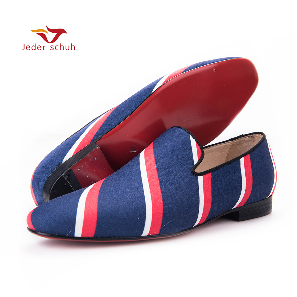 Jeder Schuh new Square toe blue canvas shoes with striped design Party and Banquet men dress loafers Leather insole men flats