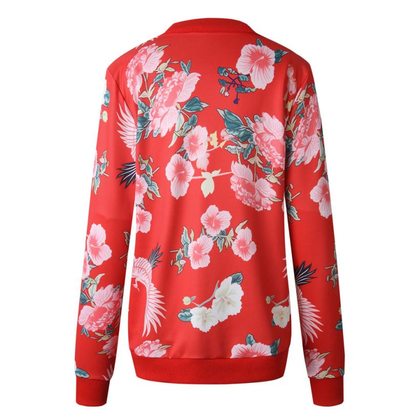 Outerwear & Coats Jackets Womens Ladies Retro Floral Zipper Up Bomber Outwear Casual coats and jackets women 18AUG10 23