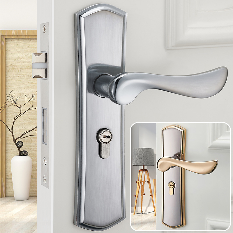 Modern minimalist interior mechanical lock bedroom solid - Door handles with locks for bedrooms ...