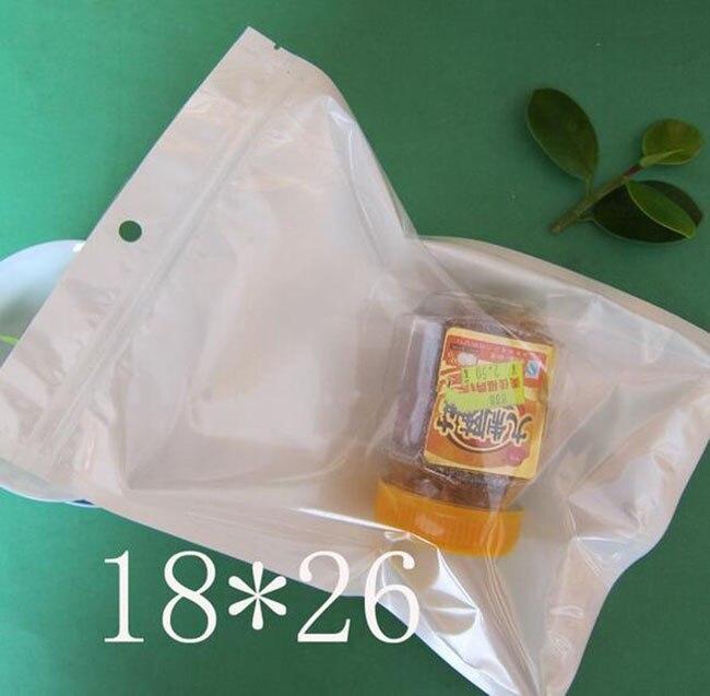 Ev ve Bahçe'ten Saklama çantaları'de 18*26 cm Beyaz/Temizle Vana Açılıp Kapanabilir Fermuar Plastik Perakende Ambalaj Poli Çanta, kilitli kilitli poşet Perakende Depolama W/Asmak Delik'da  Grup 1