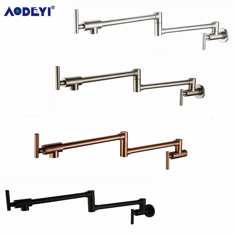 100% Solid Brass Pot Filler Tap Wall Mount Kitchen Faucet Single Cold Single Hole Tap Chrome Nickel  Alba Black-in Kitchen Faucets from Home Improvement
