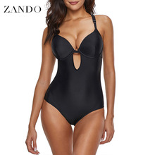 Zando Sexy Sling  One piece Swimwear Cross Solid One-piece Swimsuit Women Deep V neck Backless Monokini 2019 X-back Bathing
