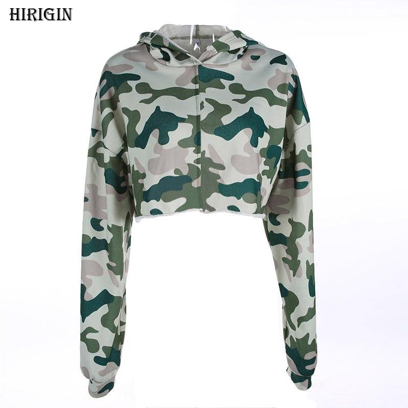 HIRIGINNew Style in Autumn 2017 Women Solid Hoodies Jumper Sweatshirt Casual Crop Top Coat Sports Pullover NEW