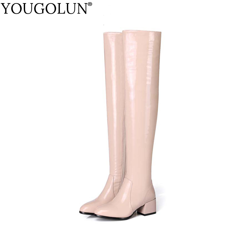 YOUGOLUN Women Thigh High Boots 2017 New Winter Stretch Patent Leather Black Pink Mid Heels Shoes #Y-165