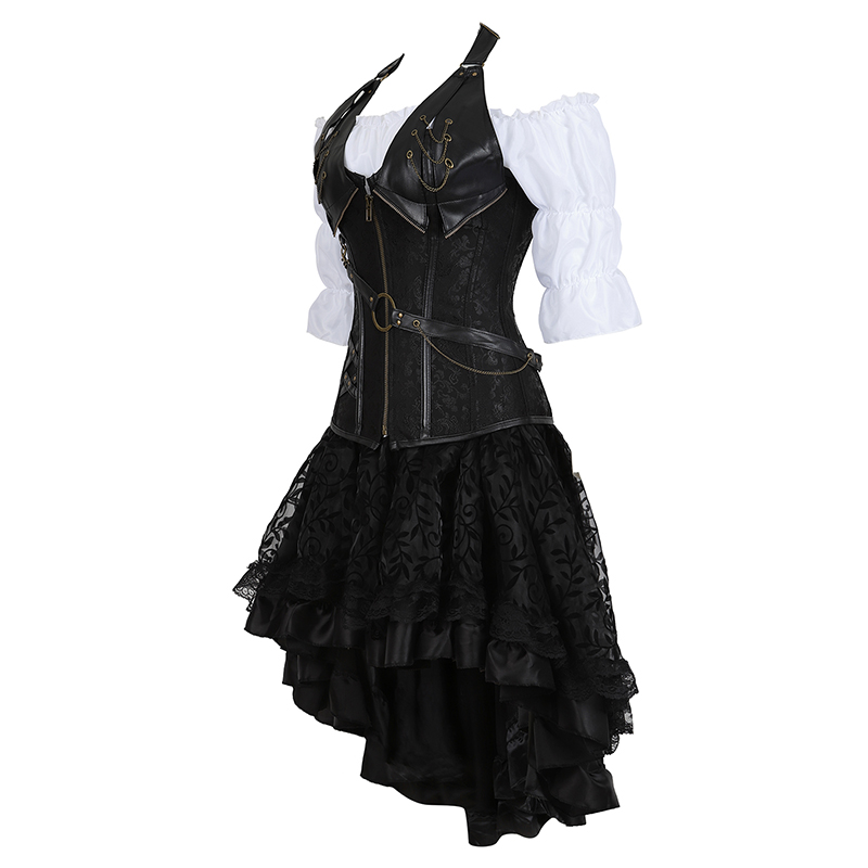 Image 5 - Steampunk Bustier Corset Plus Size 6XL PU Leather Corset Skirt Tops 3 Piece Set Gothic Burlesque Pirate 2019 New Arrival 8105 3-in Bustiers & Corsets from Underwear & Sleepwears