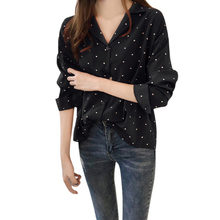 2019 Shirt Tops Blusas Feminina Fashion Womens Dots Printed Long Sleeve Slim Tops Elegant Ladies Formal Office Blouse(China)