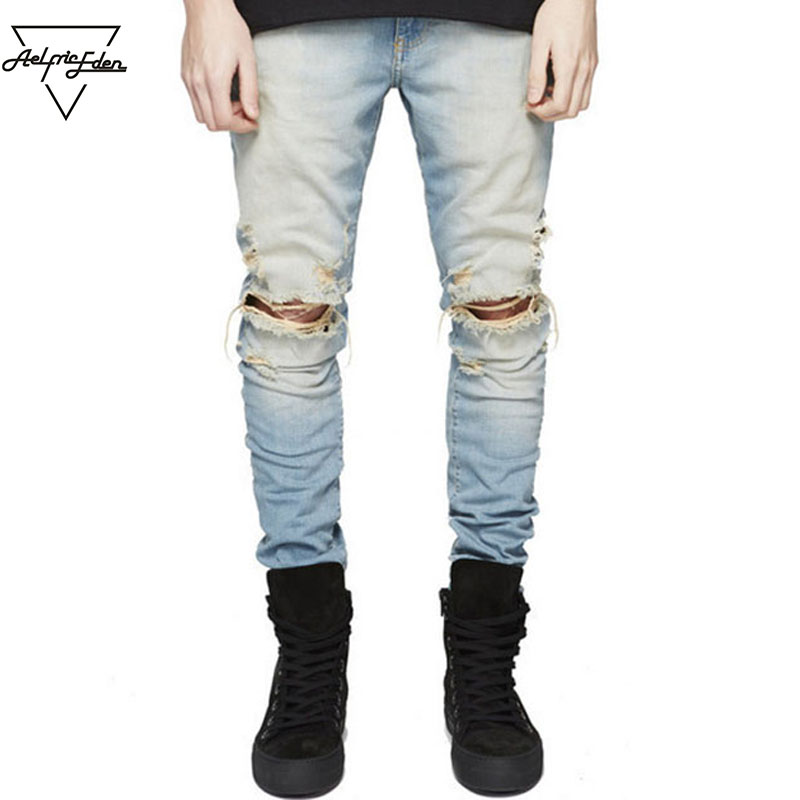Aelfric Eden Streetwear Ripped Black Skinny Jeans for Men Kpop Casual Denim Pants Blue Hip Hop Biker Men Male Jeans Trousers ripped jeans men destroyed skinny denim full length trousers pants casual hip hop biker masculina pantalones vaqueros hombre