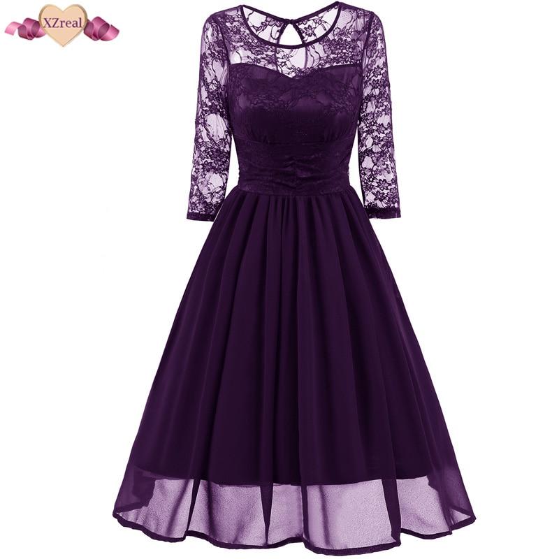 XZreal Lace Patchwork Evening Party Dress Women Autumn Vintage Rockabilly Dresses Long Sleeve Chiffon Swing Tunic Robe Z3D31