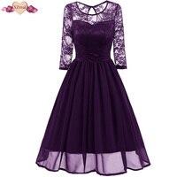 XZreal Lace Patchwork Evening Party Dress Women Autumn Vintage Rockabilly Dresses Long Sleeve Chiffon Swing Tunic