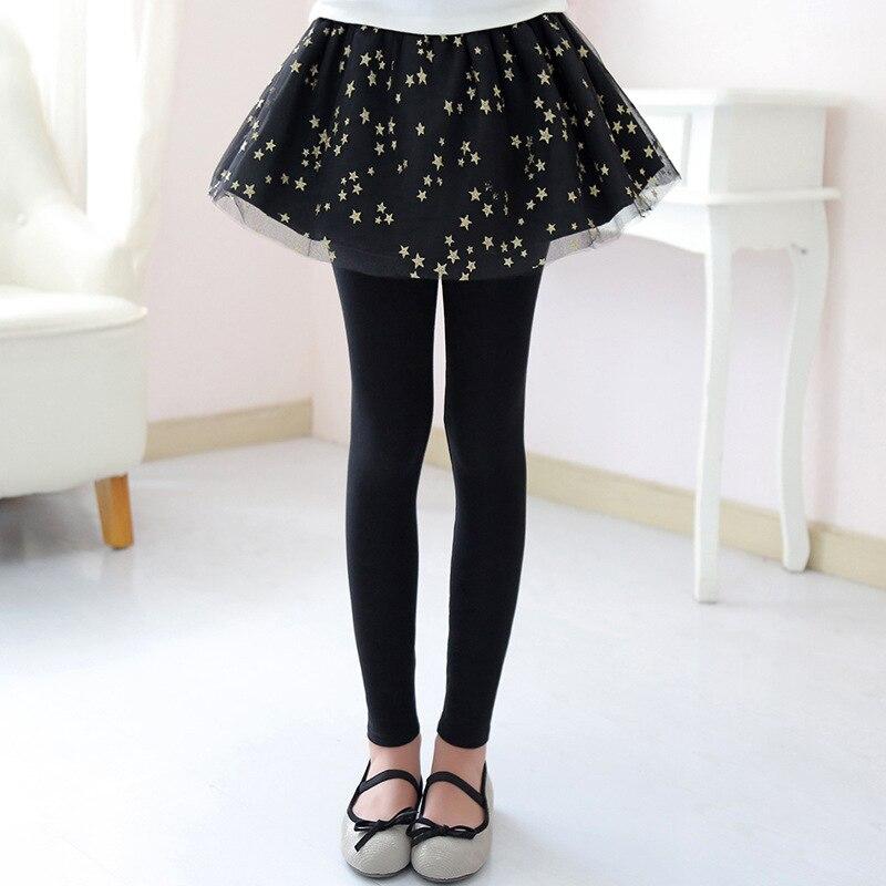 Sequined Stars Girls Legging Skirt-pants Tutu Mesh Golden Star Big Girl Elastic Leggings Children Culottes For 3-12 Years Kids 5