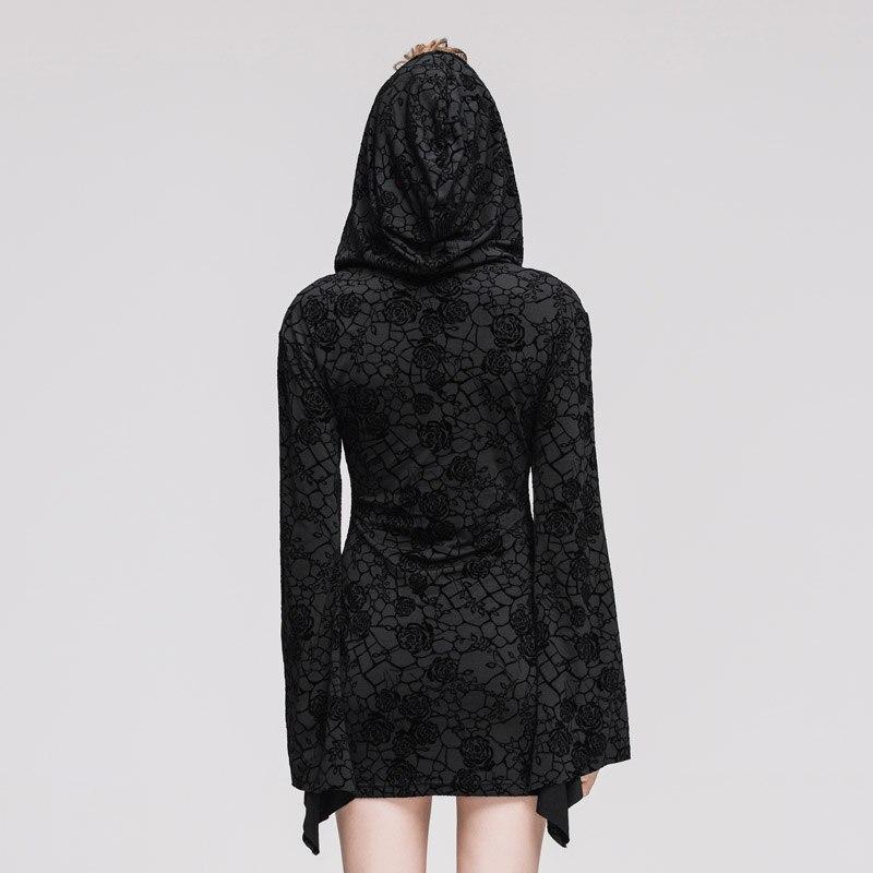 Femmes 2017 Noir Robe Steampunk Capuche Rue Manches Tricot Lavage À Impression Mini Casual De Longues Gothique Eau IxZBrqI