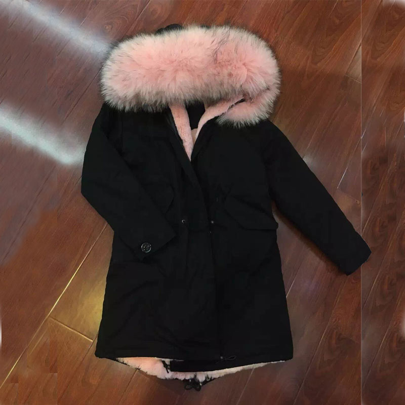 2016 FASHION women winter wear light pink fur long black jacket ...