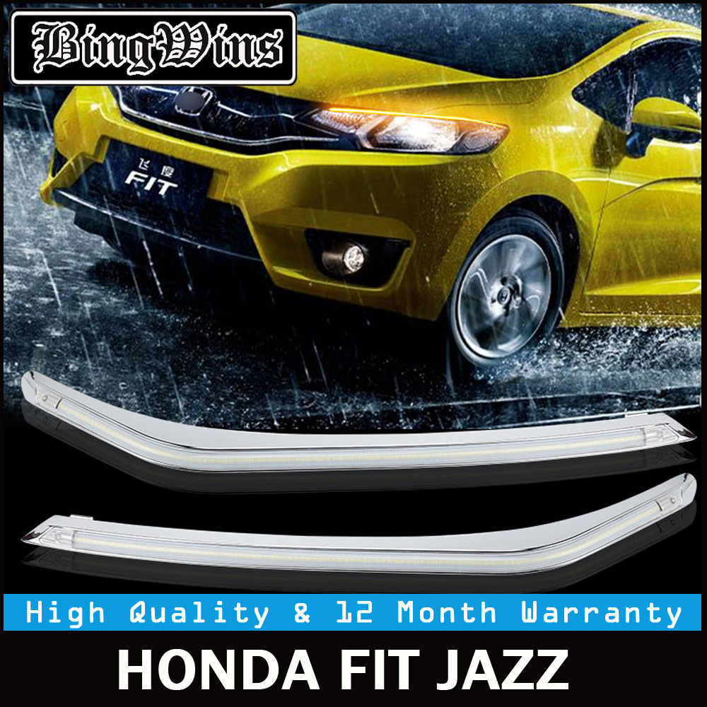 Car styling for Headlight LED Eyebrow Daytime Running Light DRL With Yellow Turn Signal Light For Honda Fit 2014-2017 9600Lm car styling led headlight brow eyebrow daytime running light drl with yellow turn signal light for kia sportage 2011 2015