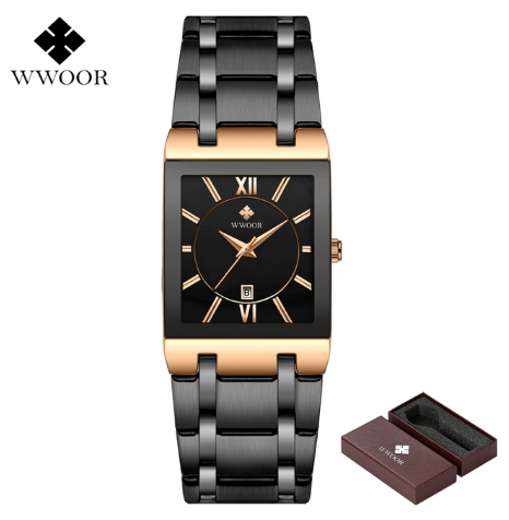 WWOOR Mens Watches Top Brand Luxury Gold Square Analog Quartz Watch Men's Gold Wrist Watch Waterproof