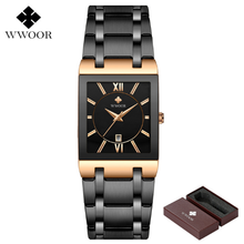 WWOOR Mens Watches Top Brand Luxury Gold Square Analog Quart